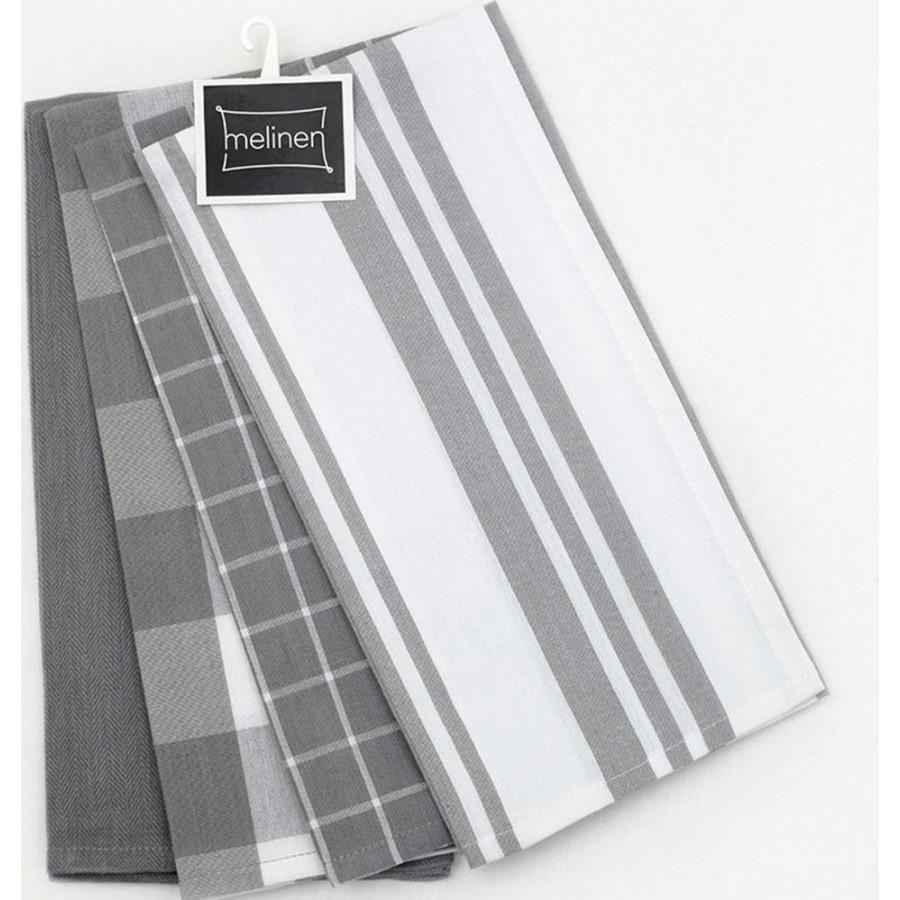 Σετ Πετσέτες 4Τεμ Κουζίνας Mix Grey Melinen 50X70