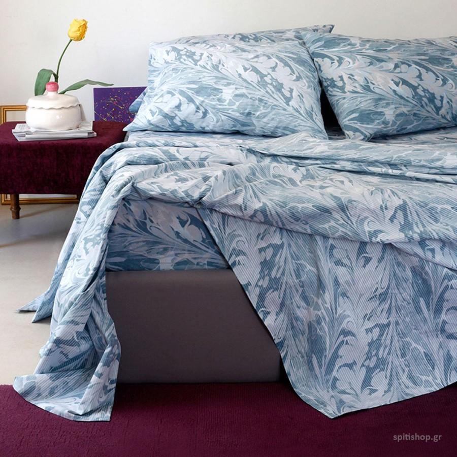 Σετ Σεντόνια Διπλά Με Λάστιχο Ultra Brooks Blue Melinen 150Χ200+32