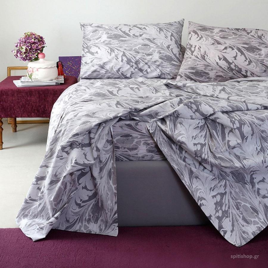 Σετ Σεντόνια King Size Με Λάστιχο Ultra Brooks Grey-Lilac Melinen 180Χ200+32
