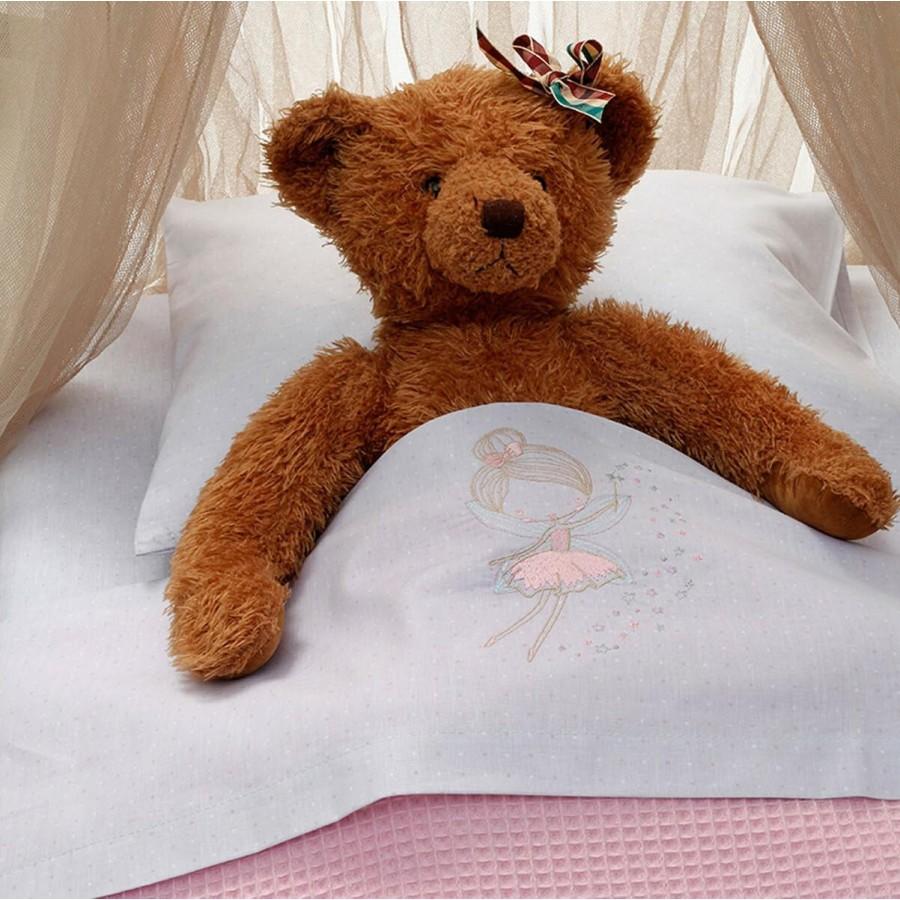 Σετ Σεντόνια Κούνιας Με Λάστιχο Baby Fairy Grey Melinen 75Χ140