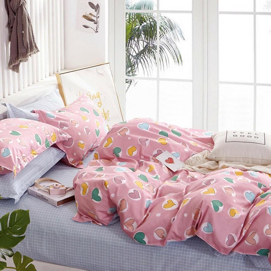 Σετ Σεντόνια Μονά Prime Kids Heart Attact Pink Melinen 170Χ260
