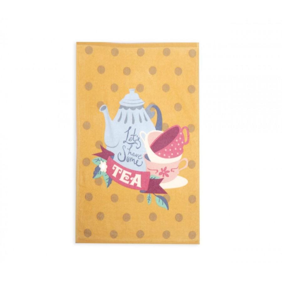 Ποτηροπανο Lets Have Some Tea 40Χ60 Mustard Nef-Nef 40X60