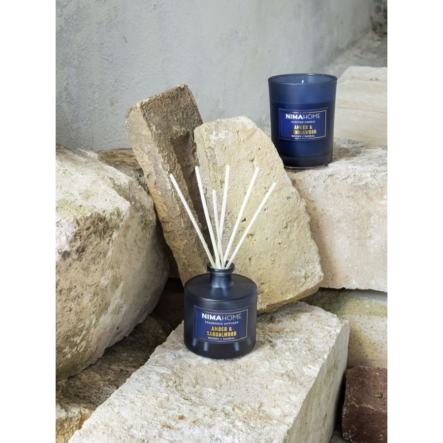Nima Σετ Αρωματικό Χώρου με Στικ 100ml & Αρωματικό Κερί 130gr - Amber & Sandalwood