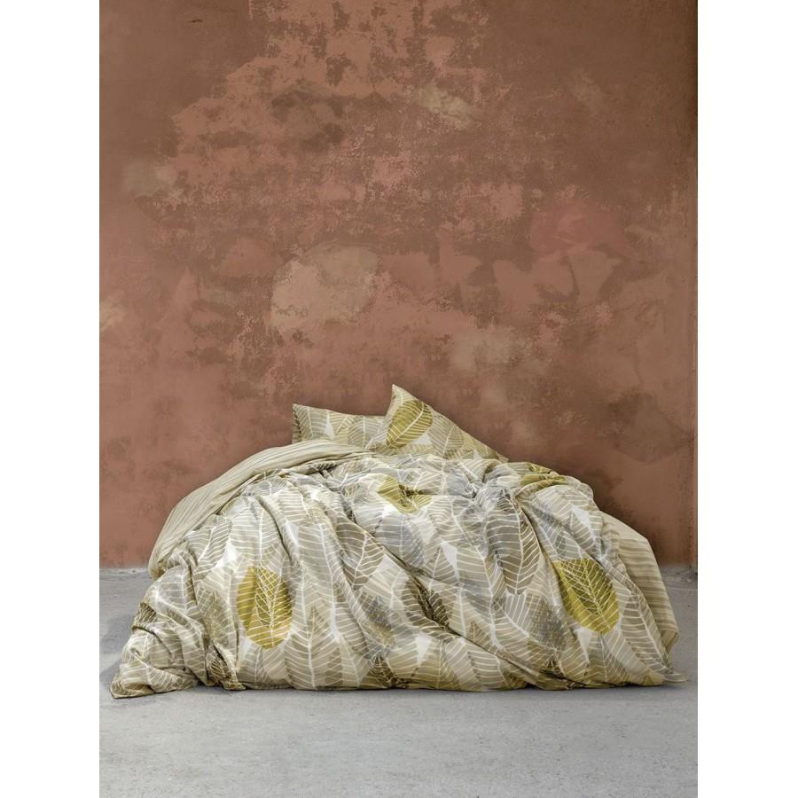 Nima Σετ Σεντόνια Υπέρδιπλα με Λάστιχο - Feuilles Beige 160x200+32