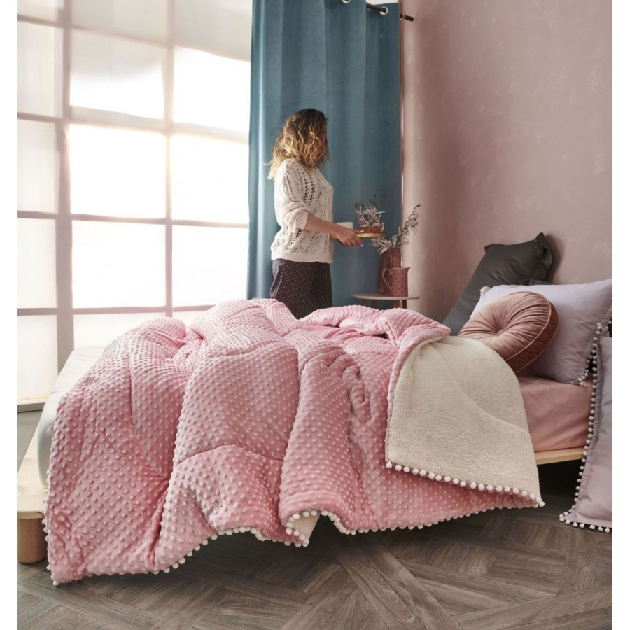 Διακοσμητική Μαξιλαροθήκη Pop Flannel-Sherpa Desire Pink Palamaiki 50X50