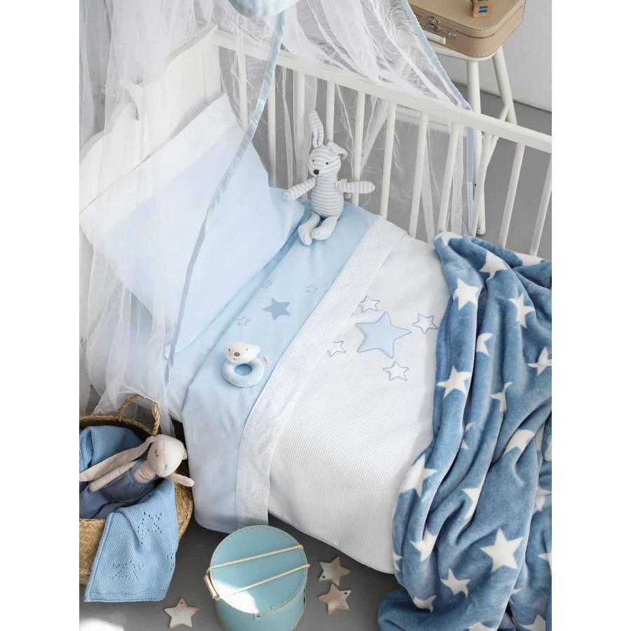 Κουβέρτα κούνιας fleece bj356 Μπλέ 100X150 Palamaiki