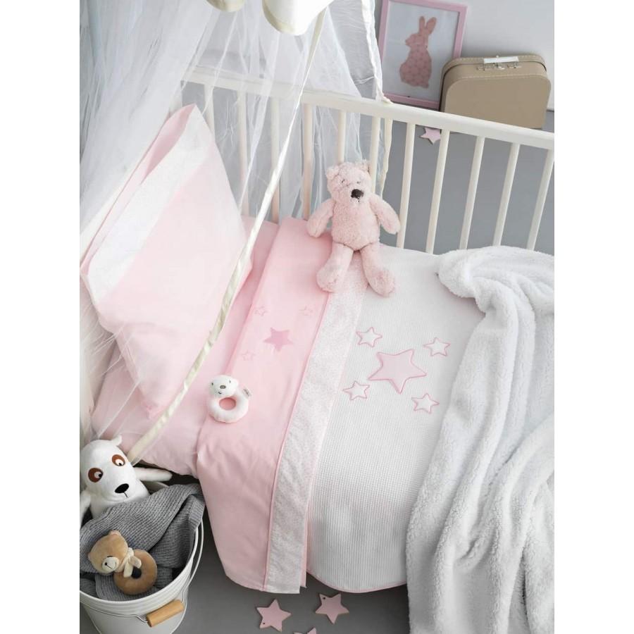 Κουβέρτα κούνιας fleece bj356 Ροζ 100X150 Palamaiki