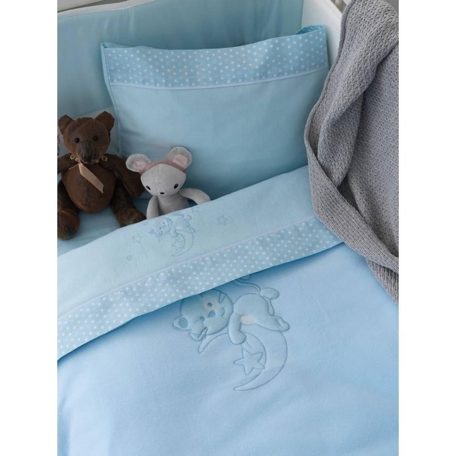 Κουβέρτα κούνιας fleece bj562 Σιέλ 100X150 Palamaiki