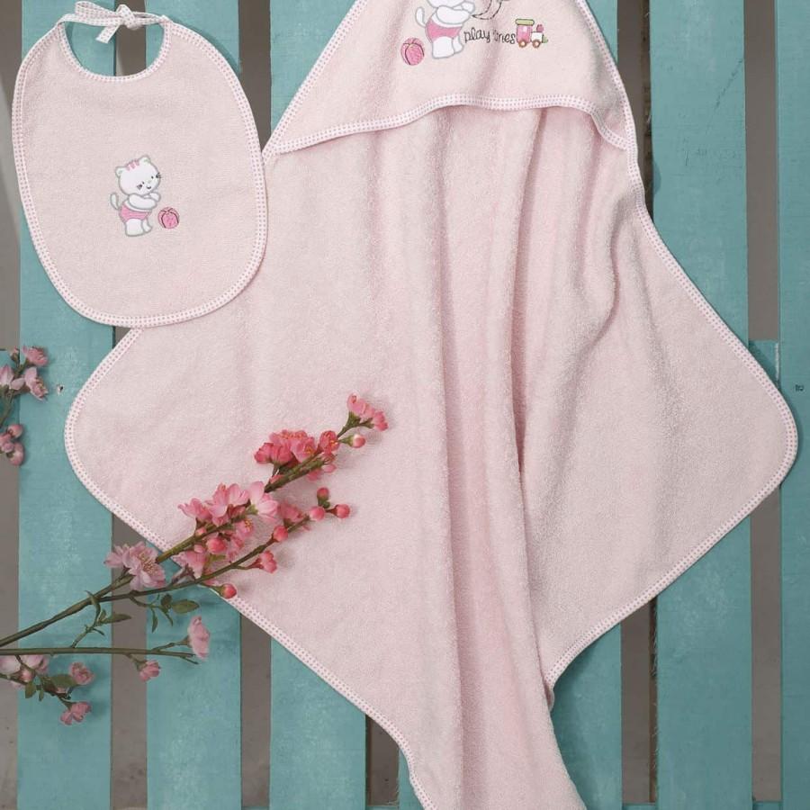 Βρεφική Κάπα Bebe Και Σαλιάρα (Σετ) Kitten Pink