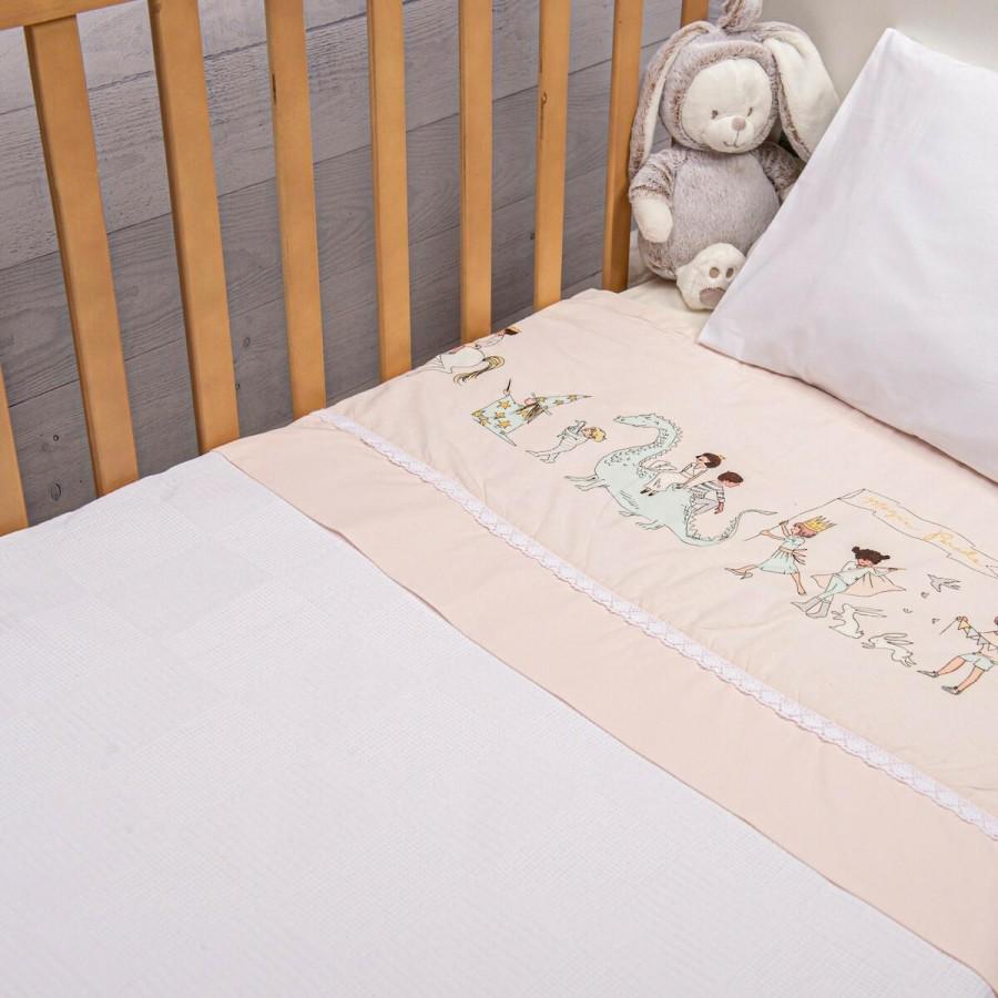 Πικέ Κουβέρτα Fairytale Ροζ Abo 100x150