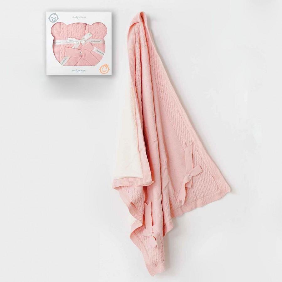 Πλεκτή Κουβέρτα Ροζ Abo 95X100