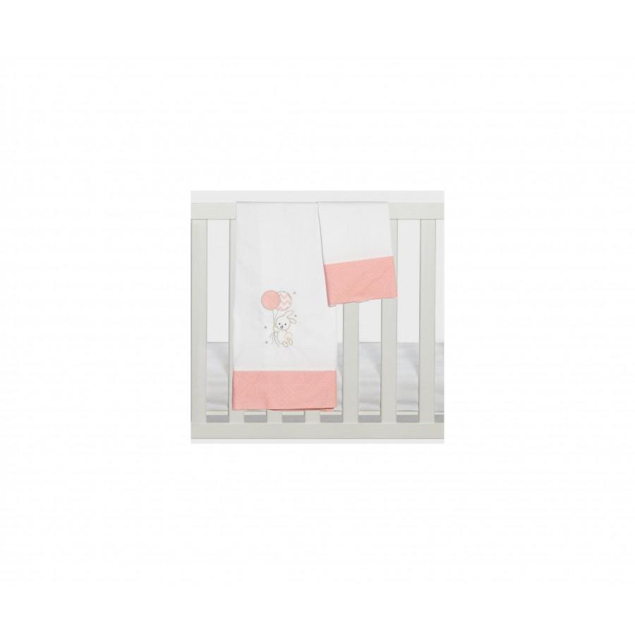 Σετ Σεντόνια Καλαθούνας-Λίκνου 3Τμχ Carot Ροζ Abo 75x100