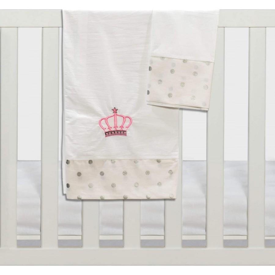 Σετ Σεντόνια Καλαθούνας-Λίκνου 3Τμχ Queens Crown Ροζ Abo 75x100