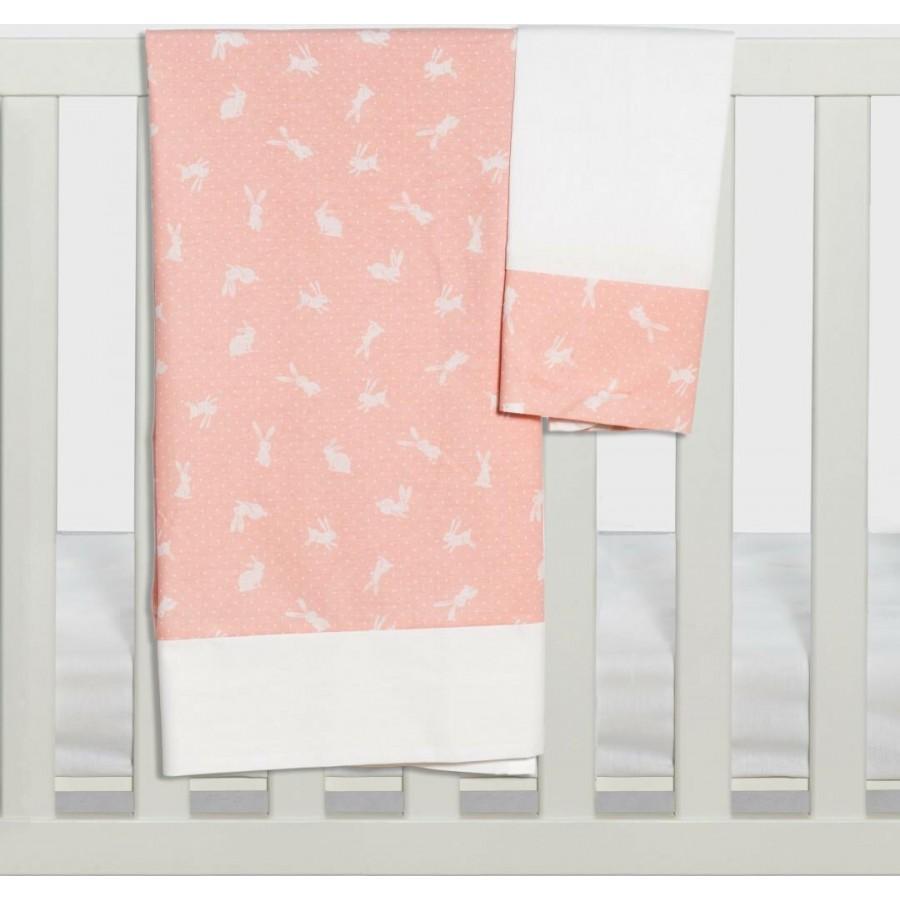 Σετ Σεντόνια Καλαθούνας-Λίκνου 3Τμχ Rabbit Ροζ Abo 75x100