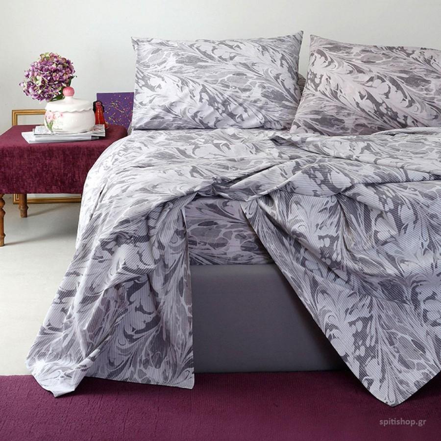 Πάπλωματοθήκη Υπέρδιπλη Ultra Brooks Grey-Lilac Melinen 220Χ245